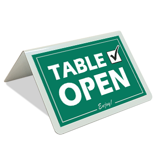 Table Open Tent Sign