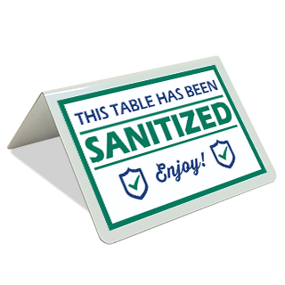 This Table has Been Sanitized Tent Sign