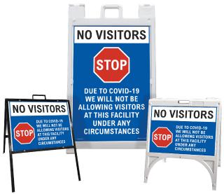 No Visitors Due to COVID-19 Sandwich Board Sign