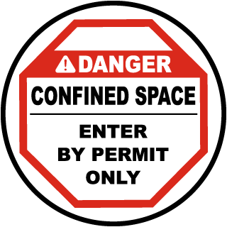 Confined Space Enter By Permit Floor Sign