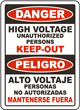 Bilingual High Voltage Unauthorized Keep Out Sign