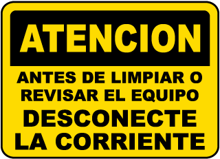 Spanish Caution Before Cleaning Sign