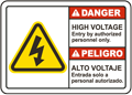 Bilingual High Voltage Authorized Personnel Only Sign