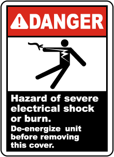 Hazard of Electrical Shock or Burn Label
