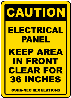 Caution Keep Area Clear For 36 Inches Floor Label