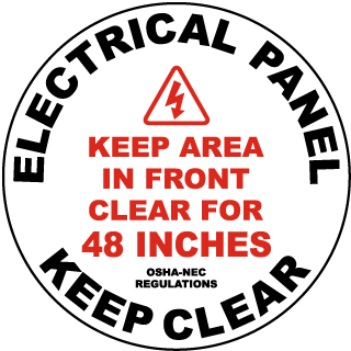 Keep Area Clear For 48 Inches Floor Label