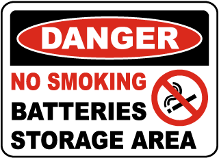 No Smoking Battery Storage Area Sign