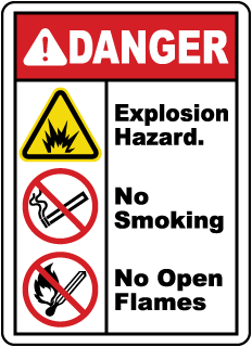 Explosion Hazard No Smoking Sign