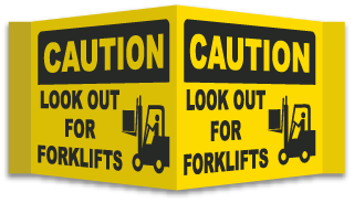 3-Way Look Out For Forklifts Sign