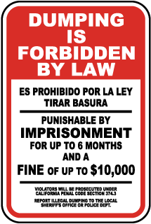 Dumping Forbidden By Law Sign