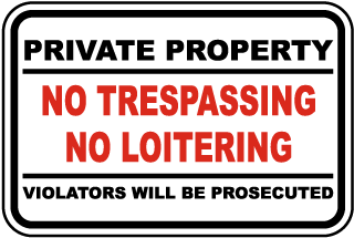 No Trespassing No Loitering Sign