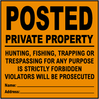 Orange Posted Private Property Sign