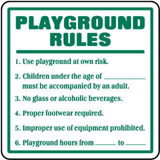 Playground Rules Signs