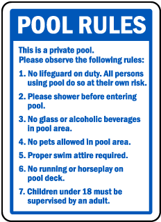 Pool Signs For Recreation Areas Pool Safety Signs