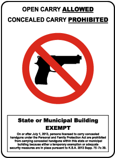 Kansas Open Carry Allowed Concealed Carry Prohibited State Building Sign