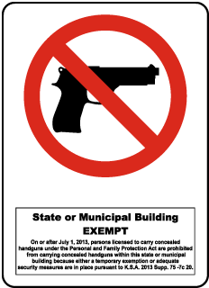 Kansas No Firearms State and Municipal Building Sign