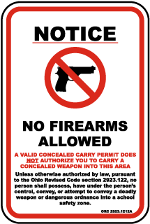 Ohio School Zone No Firearms Allowed Sign