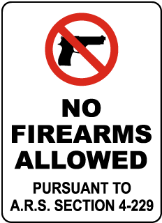 Arizona No Firearms Allowed Sign