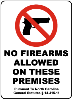 North Carolina No Firearms Sign