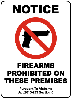Alabama Firearms Prohibited Sign