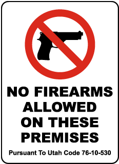 Utah No Firearms Sign