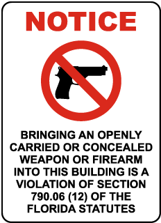Florida No Weapons or Firearms Sign