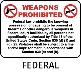Federal Court Facilities Weapons Prohibited Sign