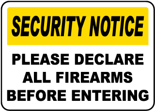 Please Declare All Firearms Sign