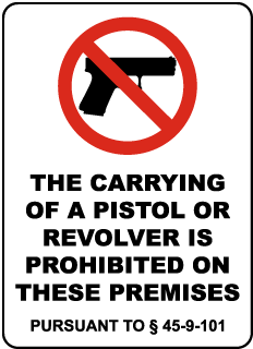 Mississippi Pistols Prohibited Sign