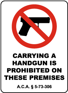 Arkansas Handguns Prohibited Sign