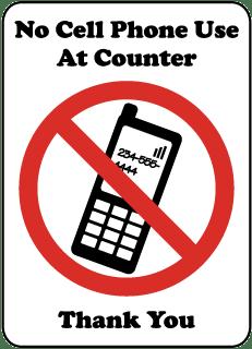 No Cell Phone Use At Counter Sign