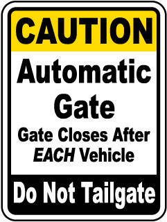 Gate Closes After Each Vehicle Sign