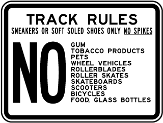 Track Rules and Footwear Sign