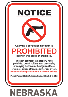 Nebraska Concealed Handgun Sign