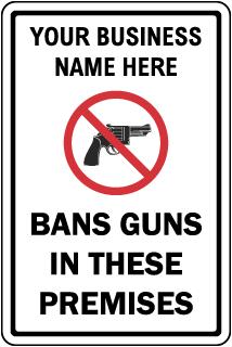 Custom No Guns Sign