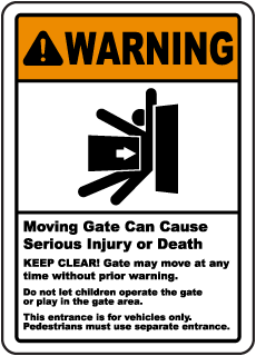 Gate Can Cause Serious Injury Sign