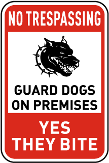 Guard Dogs on Premises Sign