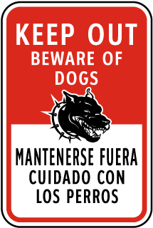 Bilingual Keep Out Beware of Dogs Sign