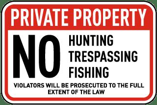 No Hunting Fishing Trespassing Sign