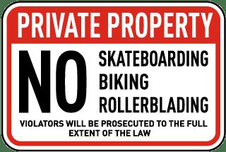 No Skateboarding Biking Sign