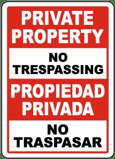 Bilingual Private Property No Trespassing Sign