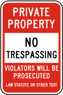 Custom Post Mount No Trespassing Sign