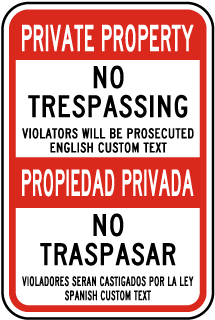 Custom Post Mount Bilingual No Trespassing Sign
