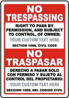 Custom Bilingual California No Trespassing Right to Pass Sign
