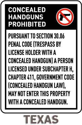 Texas 30.06 No Concealed Handguns Sign