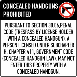Texas 30.06 No Concealed Carry Floor Sign