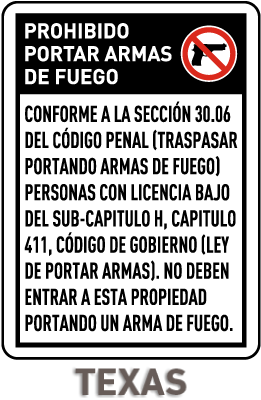 Spanish Texas 30.06 No Concealed Handguns Sign