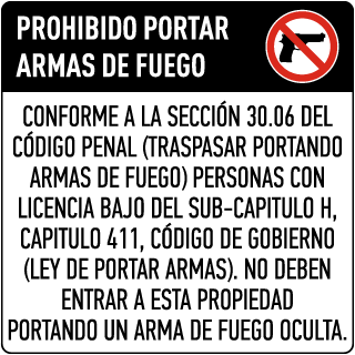 Texas 30.06 Spanish No Concealed Carry Floor Sign