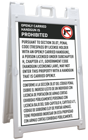 Texas 30.07 Bilingual No Open Carry Sandwich Board Sign