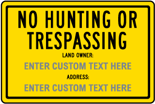Custom New Hampshire No Hunting or Trespassing Sign